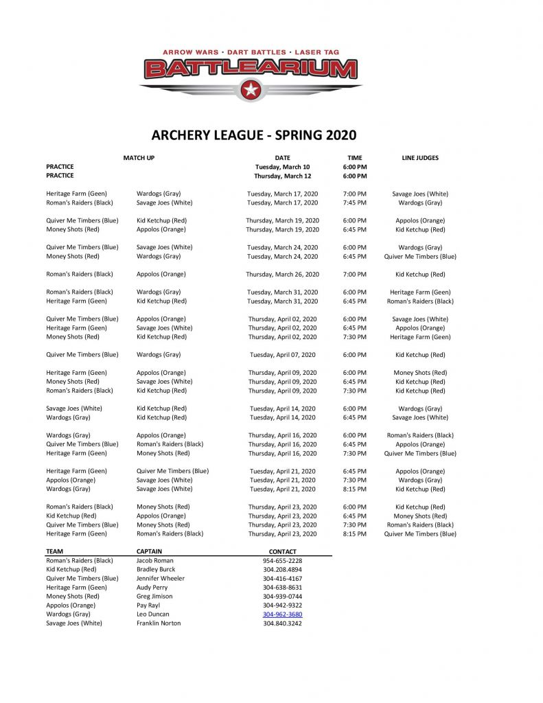 Archery Tag League Schedule Spring 2020