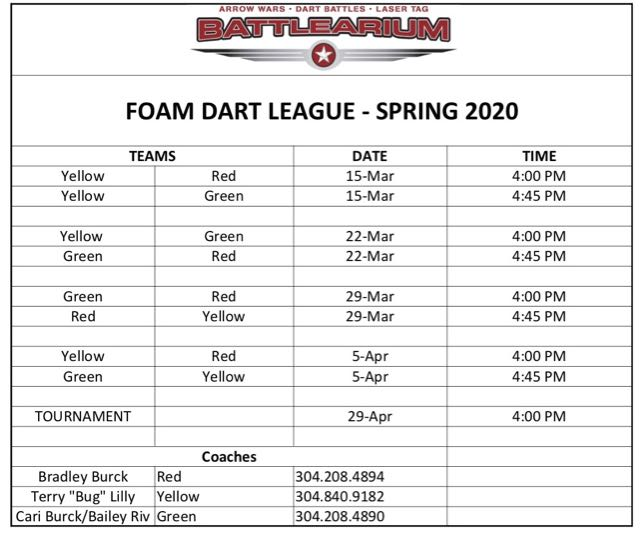 Schedule for Foam Dar (Nerf) League at the Battlearium in spring of 2020