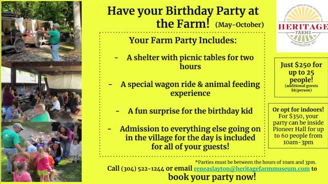 Plan your party at Heritage Farm