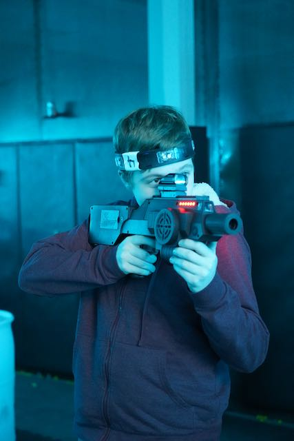 Shoot a modern laser tag blast in games like Domination